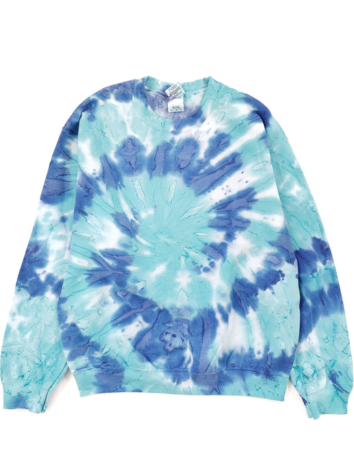 blue tie dye crew neck sweatshirt