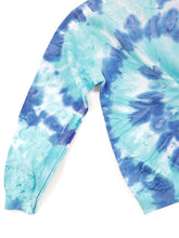 Load image into Gallery viewer, detail of blue tie dye crew neck sweatshirt