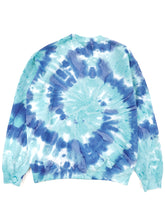Load image into Gallery viewer, back of blue tie dye crew neck sweatshirt
