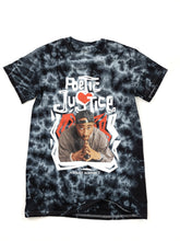 "Load image into Gallery viewer, black and gray tie dye ""Poetic Justice"" Tupac short sleeve movie tee"
