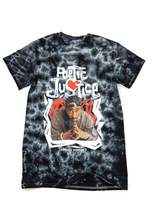 "black and gray tie dye ""Poetic Justice"" Tupac short sleeve movie tee"