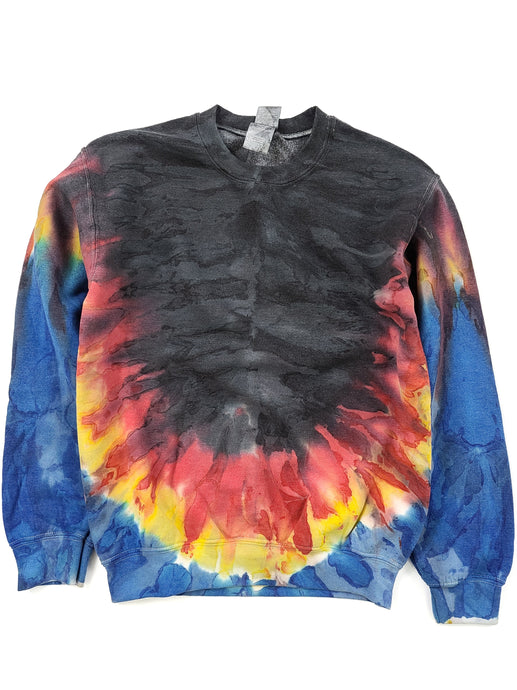 black, red, yellow and blue tie dye crew neck sweatshirt