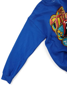 sleeve of blue graphic The Rolling Stones band sweatshirt