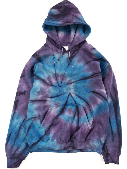 purple and blue tie dye hoodie with front pocket