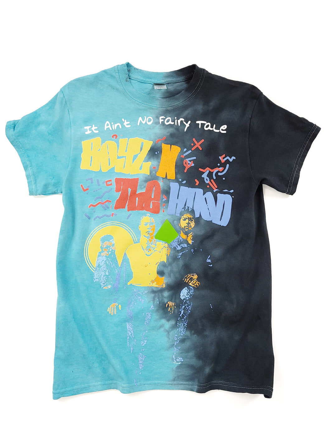 blue and black tie dye graphic short sleeve Boys in the Hood movie tee