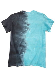 back of blue and black tie dye graphic short sleeve Boys in the Hood movie tee