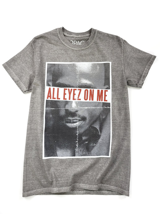 gray Tupac graphic short sleeve music tee