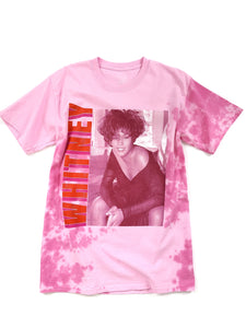 pink tie dye Whitney Houston graphic short sleeve music tee