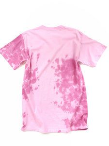 back of pink tie dye Whitney Houston graphic short sleeve music tee