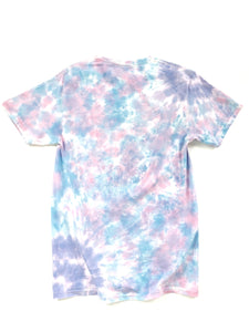 back of purple and blue tie dye Biggie graphic short sleeve music tee