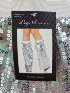 silver sequin flare leg warmers