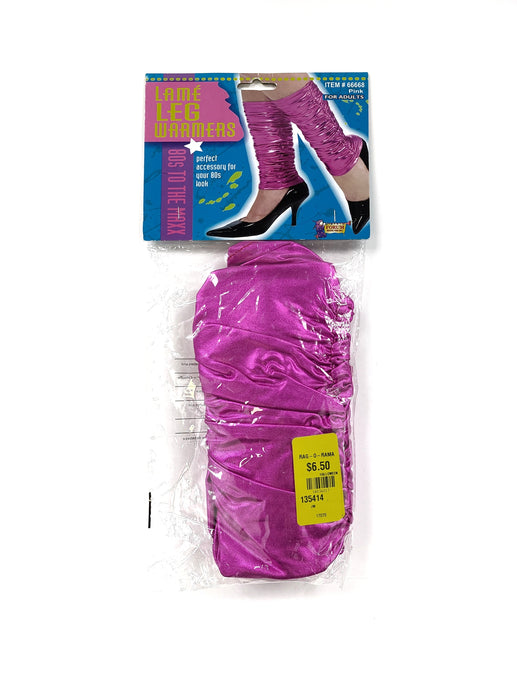 pink metallic leg warmers
