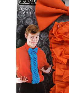 "example of orange bow tie and 24"" ruffled shirt front costume accessory kit"