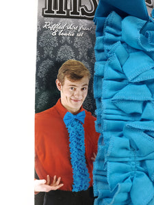 "example of blue bow tie and 24"" ruffled shirt front costume accessory kit"