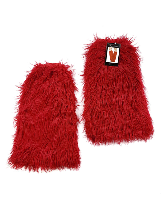 red faux furry leg warmers