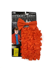 "Load image into Gallery viewer, orange bow tie and 24"" ruffled shirt front 2-piece costume accessory kit"