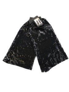 black sequin flare leg warmers