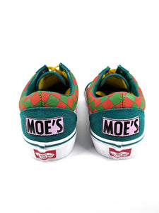 Moe's on back of The Simpsons character side graphic suede toe classic plus Vans