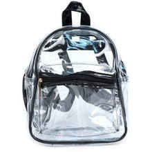 Load image into Gallery viewer, Clear small backpack with black trim and adjustable straps