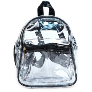 Clear small backpack with black trim and adjustable straps