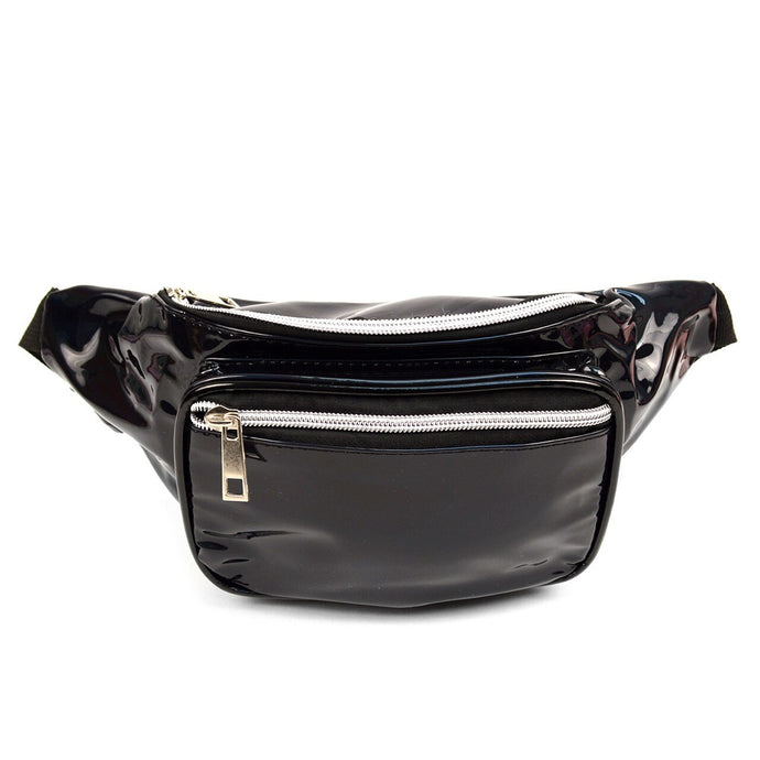 metallic black fanny pack