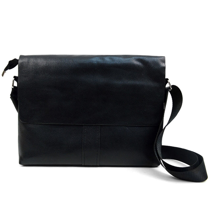 black classic synthetic leather crossbody messenger bag