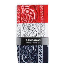 Load image into Gallery viewer, 3 pack of red navy and white bandanna