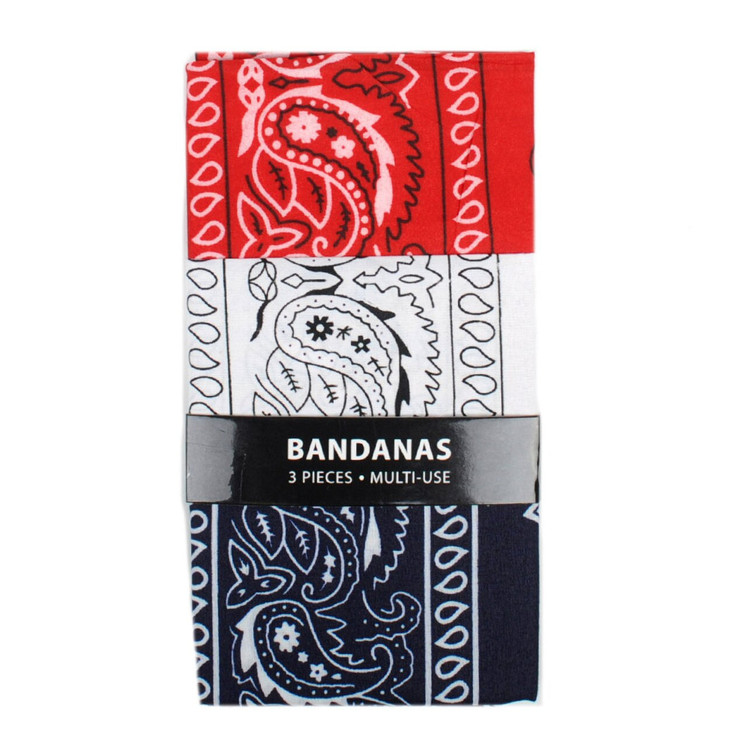 3 pack of red navy and white bandanna