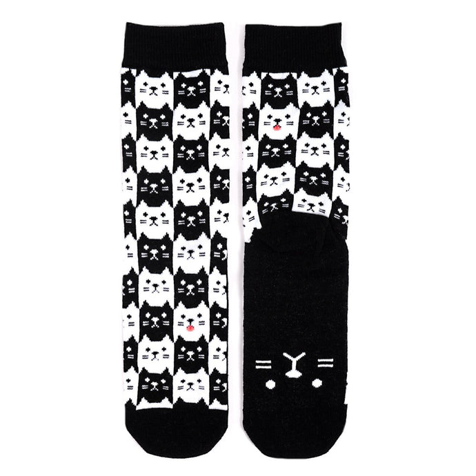black and white cat socks with face on bottom