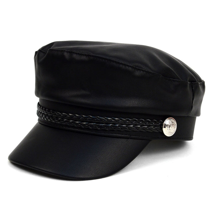 Black PU leather nautical hat with nautical buttons