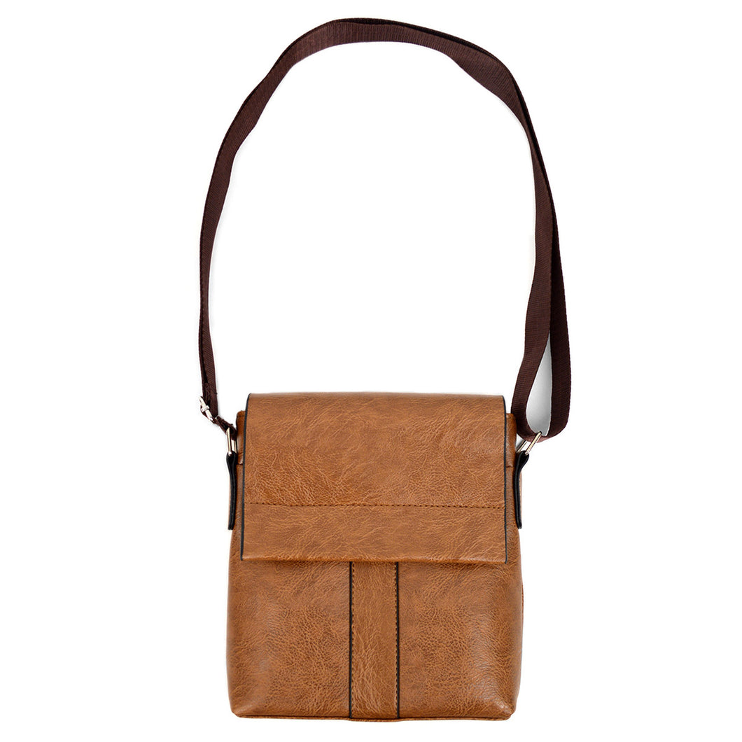 full strap of brown synthetic leather small crossbody messenger bag