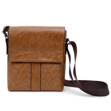 Load image into Gallery viewer, brown synthetic leather small crossbody messenger bag