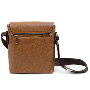 back zip pocket of brown synthetic leather crossbody messenger bag