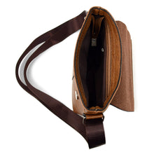 Load image into Gallery viewer, open top zip pocket of brown synthetic leather small crossbody messenger bag