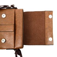 Load image into Gallery viewer, open flap of brown synthetic leather small crossbody messenger bag