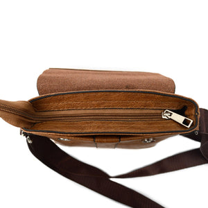 top zip pocket of brown synthetic leather small crossbody messenger bag