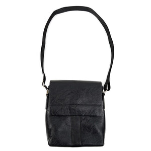 full strap of black synthetic leather small crossbody messenger bag