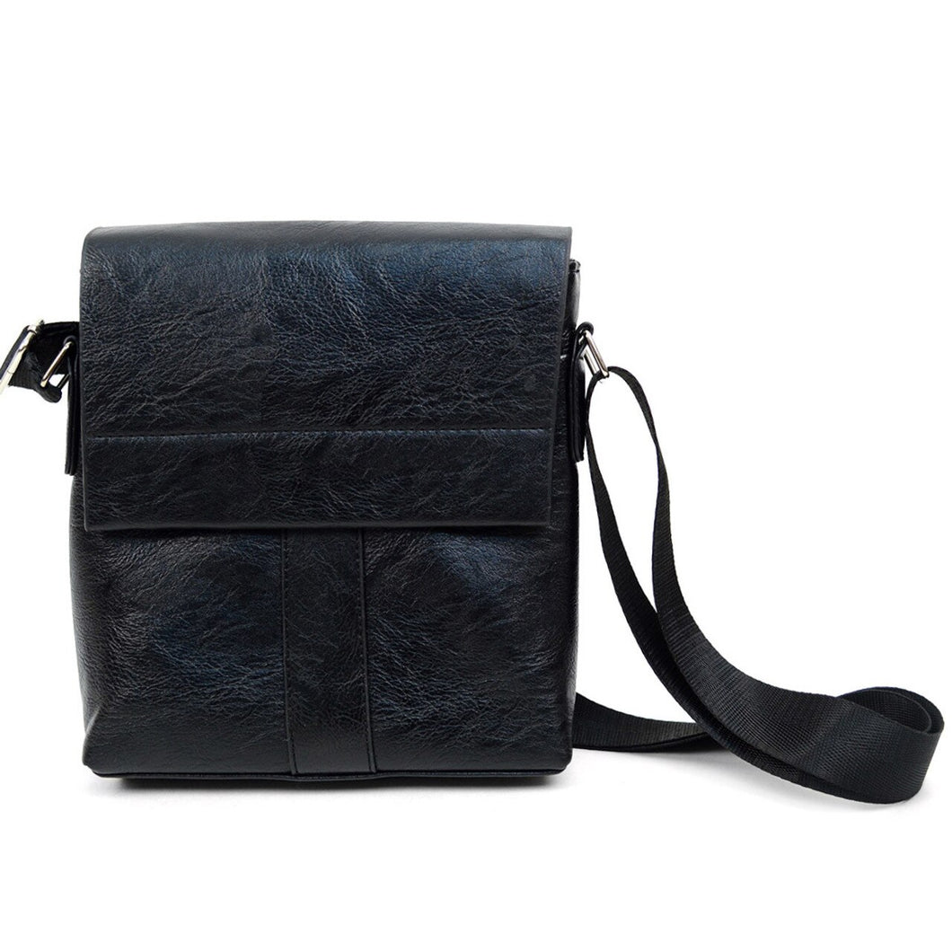 black synthetic leather small crossbody messenger bag