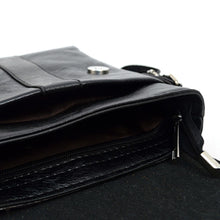Load image into Gallery viewer, open main compartment of black synthetic leather small crossbody messenger bag