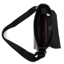 Load image into Gallery viewer, open top of black synthetic leather small crossbody messenger bag