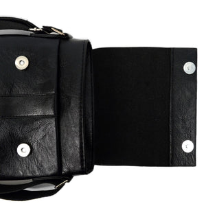 open flap of black synthetic leather small crossbody messenger bag