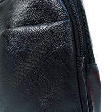 Load image into Gallery viewer, detail of black faux leather sling bag