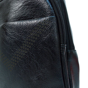 detail of black faux leather sling bag