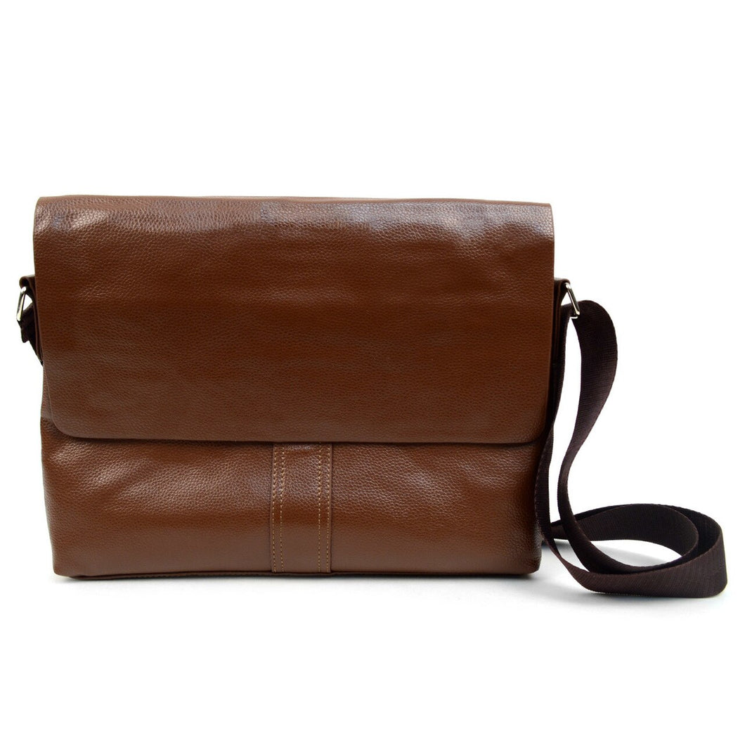 brown classic synthetic leather crossbody messenger bag