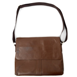 full strap of brown classic synthetic leather crossbody messenger bag