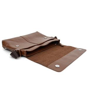 open main compartment of brown classic synthetic leather crossbody messenger bag