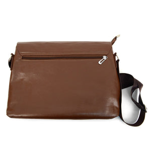 back zip pocket of brown classic synthetic leather crossbody messenger bag
