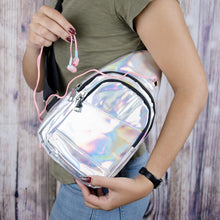 Load image into Gallery viewer, grommet for headphones in iridescent silver cross body sling bag
