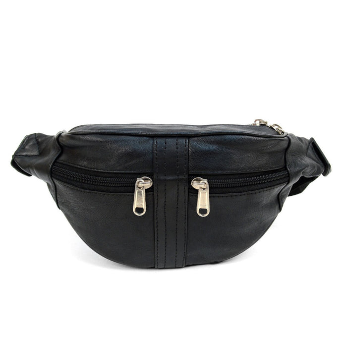 black fanny pack with 2 front zipper pockets