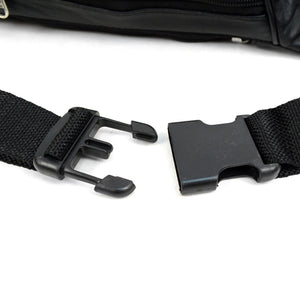 waist band clasp of black fanny pack